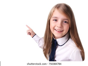 Child school girl point with finger isolated.