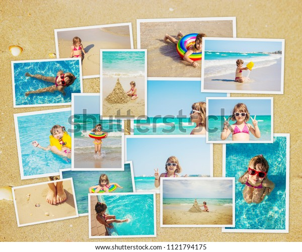 Child at sea. Collage. Selective focus.