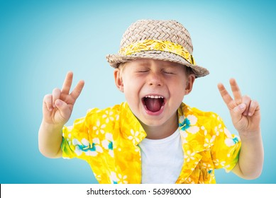 Child Shouts Expression Emotion Laughs Yellow Hawaiian Shirt Straw Hat Holidays Clothes Isolated Blue Background