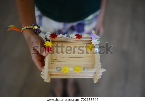Child Shows Created Handmade Articles Ice Stock Photo (Edit