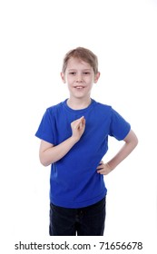 A child signs I in American Sign Language.