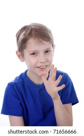 A child signs Mom in American Sign Language