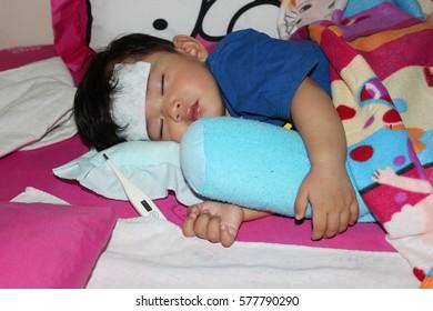 child  sleeps because he was sick