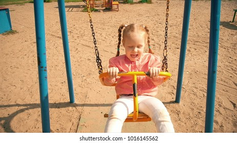 Child Sliding on a Slide in Park, Little Girl Playing at Playground, Children 4k