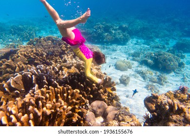 Child snorkeling. Kids swim underwater. Beach and sea summer vacation with children. Little girl watching coral reef fish. Marine life on exotic island. Kid swimming and diving with snorkel and mask.