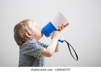 child speaks a megaphone
