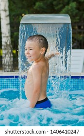 child sports in a children's outdoor pool