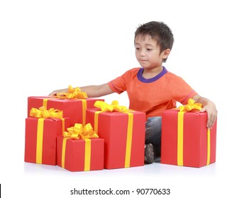 Child with stack gift box. Isolated in white background