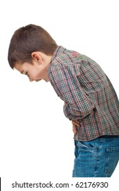 Child standing in profile  having a severe stomach ache and screaming isolated on white background
