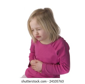 Child with stomach ache on a white background