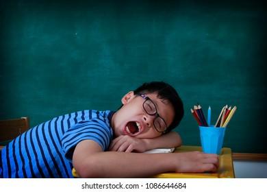 child student sleep in room