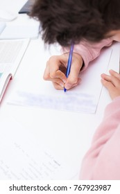 child student write on the home or school desk