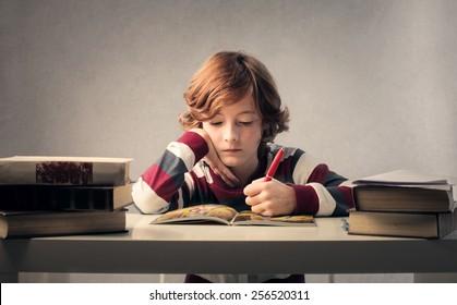 Child studying hard
