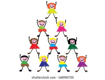 Child Style Drawing of Teamwork Concept
