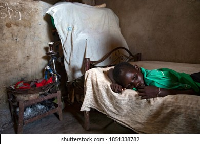 A child suffering from malaria inside his bedroom in Juba, South Sudan on 2017-08-17