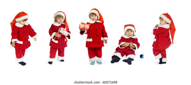 The child in a suit of Santa Klaus