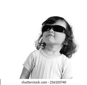 child in sunglasses,isolated on a white