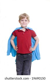 Child in the Superman pose, cropped image
