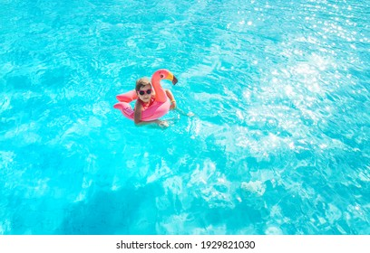 child swims and dives in the pool. Selective focus. Kid.
