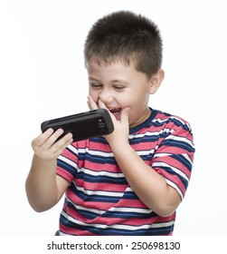child taking a self portrait with smart phone