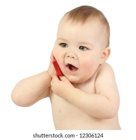 Child talking to a cell phone, isolated over white