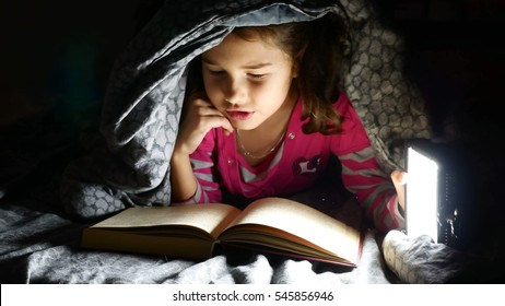 child teen reading girl reads book dog at night with flashlight lying under a blanket