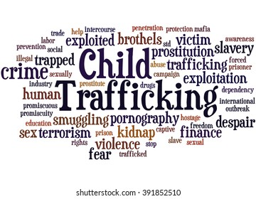 Child Trafficking, word cloud concept on white background.