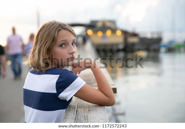 Portrait Beautiful Asian Tween Girl Stock Photos