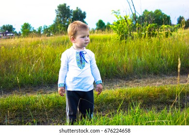 Child (Two year old boy)   in embroidered shirt stand in a meadow. Ukraine.