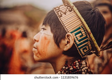 Child with typical dress in the native community of Pampamichi. July 09, 2016 Chanchamayo. Peru.