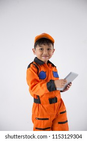 Child uniform as a astronout look camera with tablet on white background