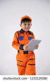 Child uniform as a astronout with tablet on white background