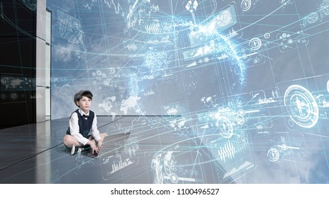 Child using laptop and futuristic GUI.