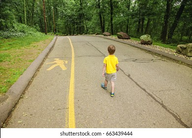 child violates the safety rules on the road. boy walking in the middle of the carriageway. kid ignores the pedestrian path. the concept of children's safety on the road