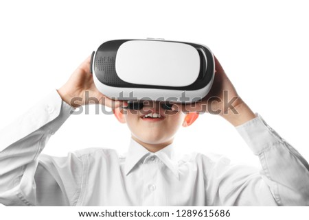 Child Virtual Reality Mask Isolated On Stock Photo (Edit Now