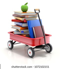 Child wagon with the books - 3D illustration