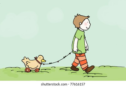 A child walk with his little friend! Digital illustration