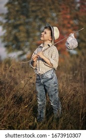 A child walks in the forest and fishing