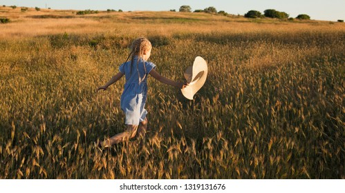The child walks and rests in nature. An active and energetic little girl runs across a wheat field towards sunset. Lifestyle. Positive emotions and energy. Happy childhood. Summertime. Summer vacation