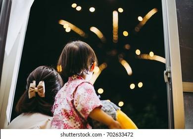 Child watching fireworks