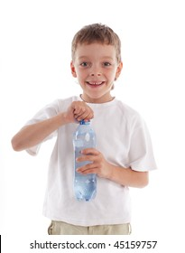 Child with a water bottle isolated on white