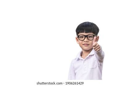 A child wearing glasses looks smart is thumbs up isolated on white background. Little boy smiles and thumbs up.