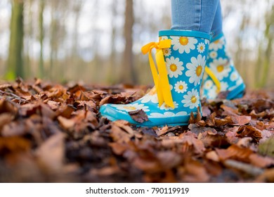 Child is wearing sky blue wellies with daisy patterns and yellow bow ribbons playing in a forest in autum leaves on a bright cold morning