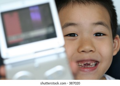 child winning in a video game