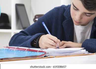 child writing in the book at school