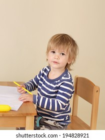 Child writing or drawing, learning, school or education concept