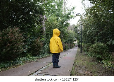 Child with yellow rain coat standing on a stone path, surrounded with green trees.