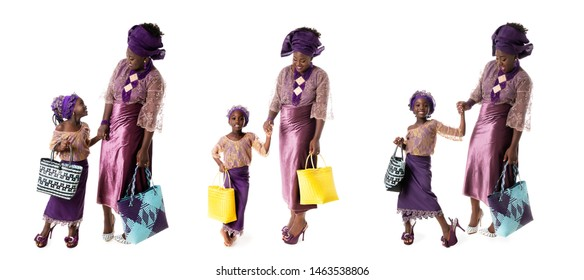 childhood and family concept - set of african woman and little girl in traditional purple clothing with tote bags isolated over white background