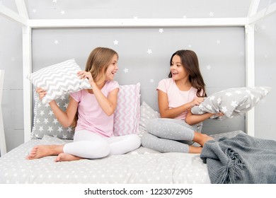 Childhood friendship concept. Girls happy best friends sleepover domestic party. Sleepover time for fun gossip story. Best girls sleepover party ideas. Soulmates girls having fun sleepover party.