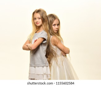 childhood. childhood happiness concept. happy childhood of two little girls isolated on white. childhood of two pretty fashion girls.